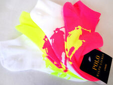 POLO RALPH LAUREN Women's Ankle Socks 4 Pairs Multi Colors 9-11 - New!