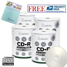 400 PK Smartbuy 52X CD-R Silver Inkjet Hub Printable Disc+FREE Micro Fiber Cloth