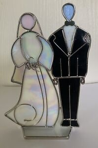 Bride and Groom Stained Glass Free Standing wedding suncatcher votive candle