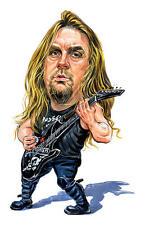 Slayer-Jeff Hanneman Caricature 80's Heavy Metal Sticker or Magnet