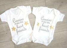 cousin baby vests, newborn cousins, matching outfits, best friends babygrow