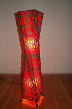 Floor standing standard lamp red with black rattan and a twist - 100cm