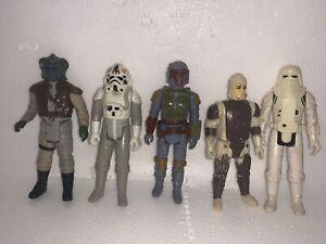 Lot Of 5 Original Vintage Star Wars Figures Boba Fett More NO REPRO No breaks
