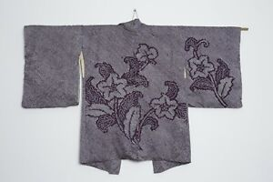 Traditional antique Japanese silk shibori haori kimono
