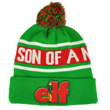 New Elf Son Of A Nutcracker Intarsia Knit Beanie Hat with Pom One Size Green Red