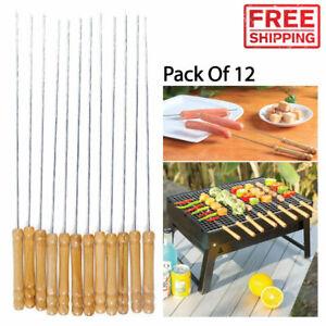 Grill Barbecue Skewers Wood Handle Marshmallow Roasting Sticks Long Fork Skewer