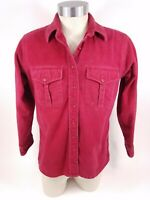 Vtg LL Bean Red Maroon Chamois Button Front Flannel Shirt Size 16 Made in USA