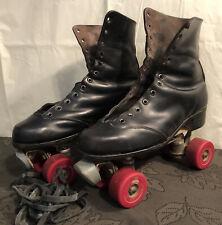 Vintage Mens Size 10 1/2ish Black Roller Skates (Read Description)