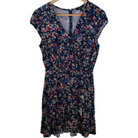J Crew Womens Faux Wrap Dress Cap Sleeves V Neck Ruffles Flowers Print Size 6