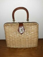 Vintage SIMON Rattan Purse Hand Bag Vintage With Front Clip Summer Style