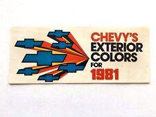 1981 Chevrolet Color Paint Guide Brochure - Corvette Camaro Caprice Monte Carlo