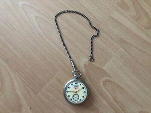 alte EISENBAHNER SERKISOF Taschenuhr Uhr Kette chronometer RUSSIA,UDSSR,18 Jewel