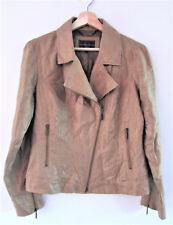 Sportscraft Size 8 Brown Bronze Metallic Linen Collared Zip Details Lined Jacket