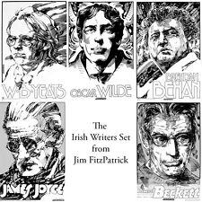 "IRISH WRITERS SET of 5 signed prints by Jim FitzPatrick. A3 16""x11"" IRELAND"