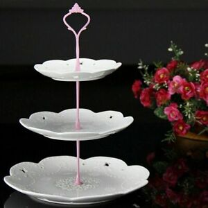 Pink 3 Tier Handle Fittings for Tea Shop Room Hotel Party Fruit Cake Plate Stand