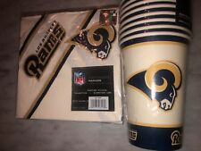 20 Paper Cups & 20 Napkins - 16 oz. Los Angeles Rams PartyWare  LA