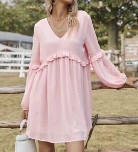 Sommer Kleid Tunika Hängerchen Volant unterlegt 38 40 42 Rosa R452 NEU