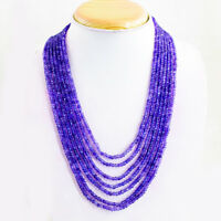 300.00 Cts Natural 7 Strand Purple Amethyst Round Faceted Beads Necklace NK03MK4