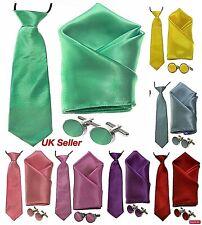 UK Classic Satin Kids Children Boys Elastic Neck Tie Pocket Square Cufflinks Set