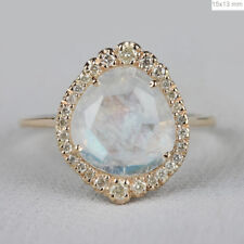 Genuine 2.23Ct. Blue Moonstone Cocktail Ring Diamond Prong Solid 14k Yellow Gold