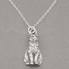 "CAT Necklace KITTEN KITTY Charm Pendant 925 STERLING SILVER 18"" .925 Long Hair"