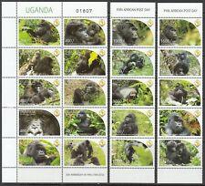 2011 Uganda PAPU Gorillas  complete set  of 20 MNH