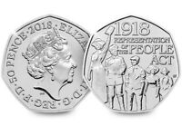 2018 REPRESENTATION OF THE PEOPLE 50P BU UNCIRCULATED COIN - OFFICIAL UK ISSUE