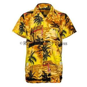 MENS HAWAIIAN SHIRT ALOHA HAWAII STAG SUNSET HOLIDAY BEACH POOL PARTY S-XXL