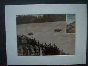 Old picture of Brooklands from a Pirelli book,laminated and mounted.