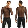 Hot Men's Mesh T-shirt Long Sleeve Gym Training Tank Top Fish Net Sporting Crop