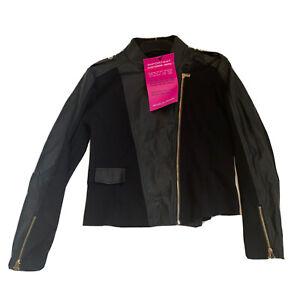 James Lakeland Ladies Size 16 Black Short Biker Jacket