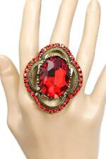 Oversized Red Rhinestones Adjustable Statement Ring Drag Queen Pageant Hip Hop