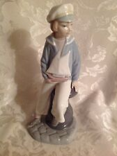 """Lladro 9"""" Figurine Sailor Boy With Sailing Boat Yacht 4810 1970's"""