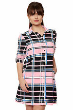 Polyester Checked Casual Dresses Collar for Women