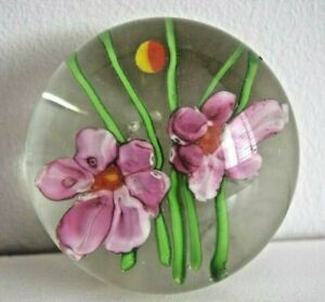 Interesting Paperweight with 2 Pink Flowers Lay on Green Stems