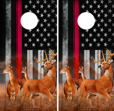 Cornhole Board Wraps Red Line Fire Fighter US Flag w Buck and Does Image Support
