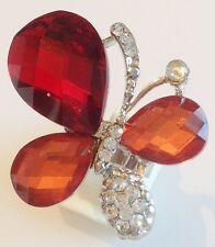 bague imposante couleur argent papillon cabochon cristaux diamant réglable 283