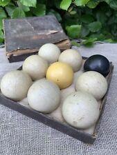 9 x Vintage / Antique SNOOKER / BILLIARD/Bagatelle.  BALLS In Box