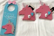 UNICORN Room Decor~Pink Blue Shimmery Door knob Sign & 2 Pink Wall Hooks GLOBAL