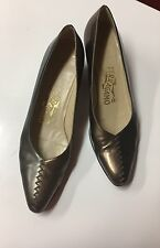 SALVATORE FERRAGAMO TWO TONE METALLIC SILVER BRONZE FLATS SHOES SIZE 8