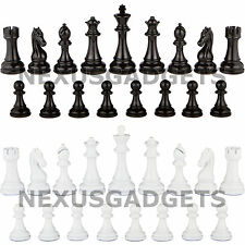 Minato Chess Pieces 4.5 In King BLACK / WHITE METAL Set Heavy NO BOARD New