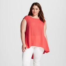 New Women's Como Black High low top Coral top tunic Sleeveless Plus size 2X
