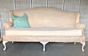 Vintage Shabby Chic Farmhouse Rustic Camel-back Sofa in Cream Micro-suede!