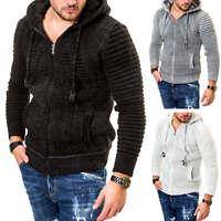 Hachiro Herren Strickjacke Kapuze Grobstrick Casual Hood Pullover Jacke SALE %