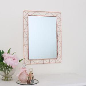 Copper Wire Wall Mirror metallic rose gold geometric home decor rectangle