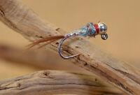 6 Flies - Tungsten Rainbow Warrior Jig Head Fly - Euro nymph - Hanak Hooks