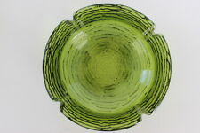 "Vintage Anchor Hocking Green Soreno Bark Glass Ashtray 4 Rests 6.25"" Diameter"
