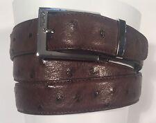 Tumi Genuine Ostrich Leather Brown Dress Belt 15909NSB-OS/44 32 34 36 38 40 42