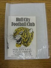 1986/1987 Fixture List: Hull City - Official Four Page Card . Thanks for viewing