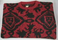 Vintage Abercrombie and Fitch Graphic Sweater 9655 Red Black Circa 70s 80s Men